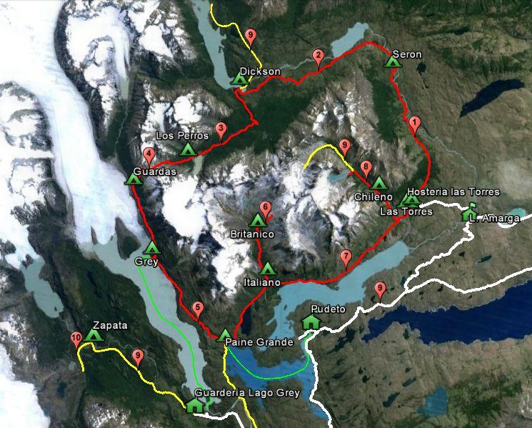 Circuito O Torres Del Paine : Itinerarios parque nacional torres del paine wikiexplora
