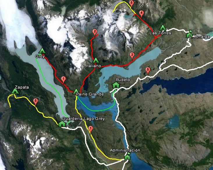 Circuito W Torres Del Paine Mapa : Itinerarios parque nacional torres del paine wikiexplora