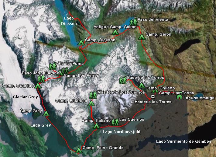 Circuito W Torres Del Paine Mapa : Eng trekking torres del paine wikiexplora